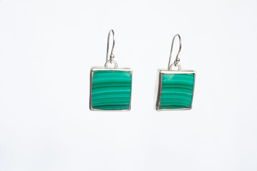 Square Malachite Stone Earrings