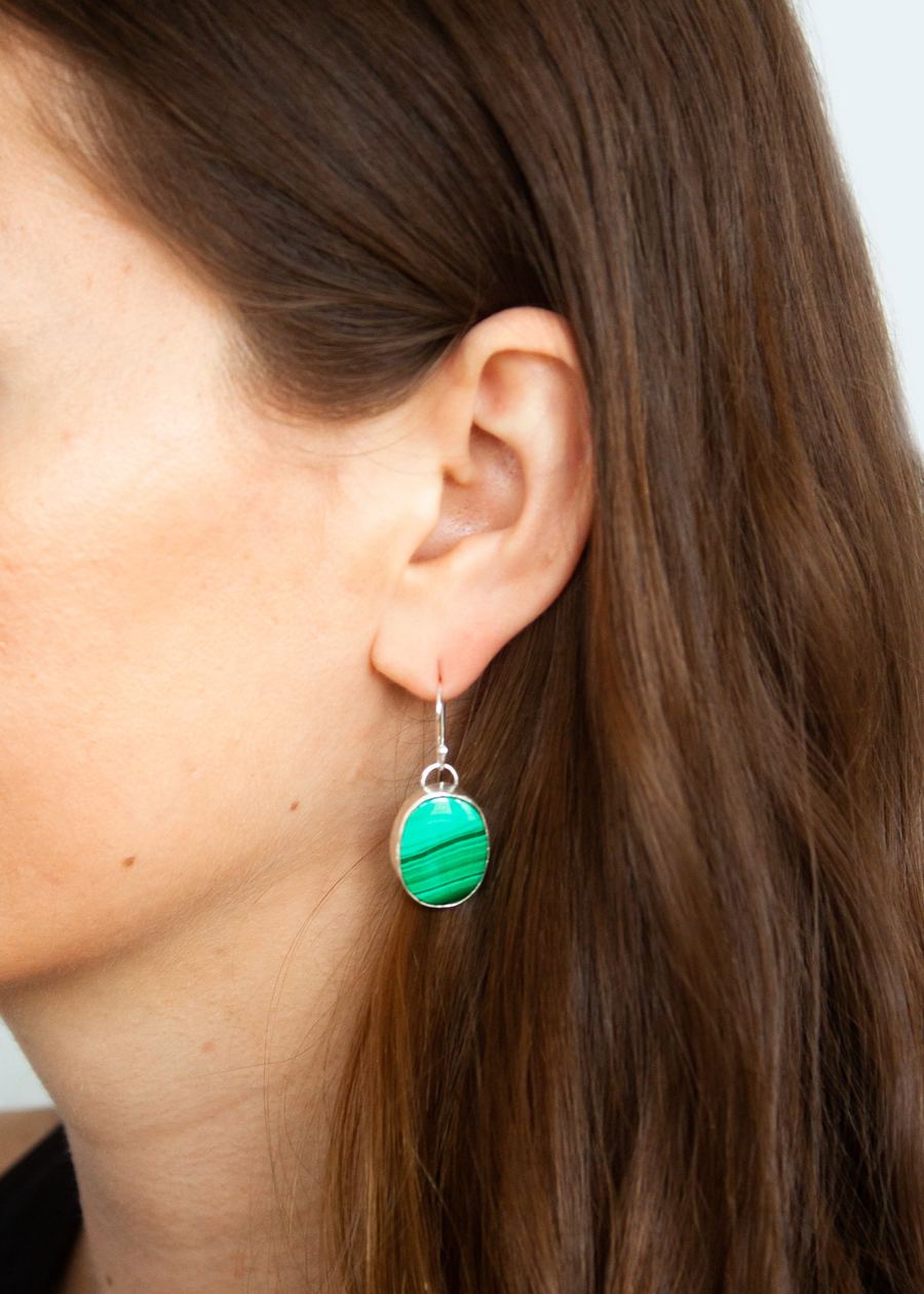 Round Malachite Earrings