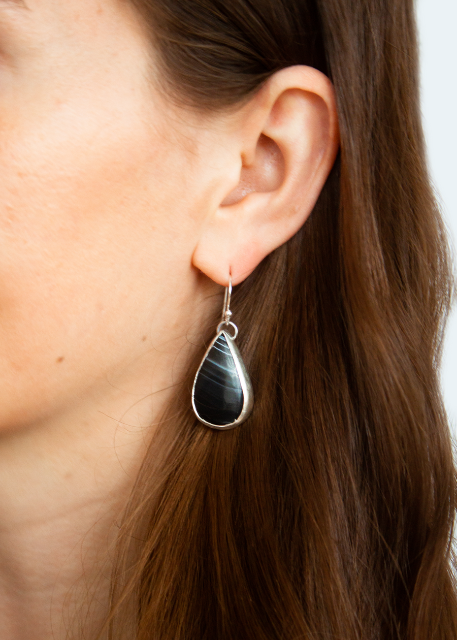Teardrop Black Agate Earrings