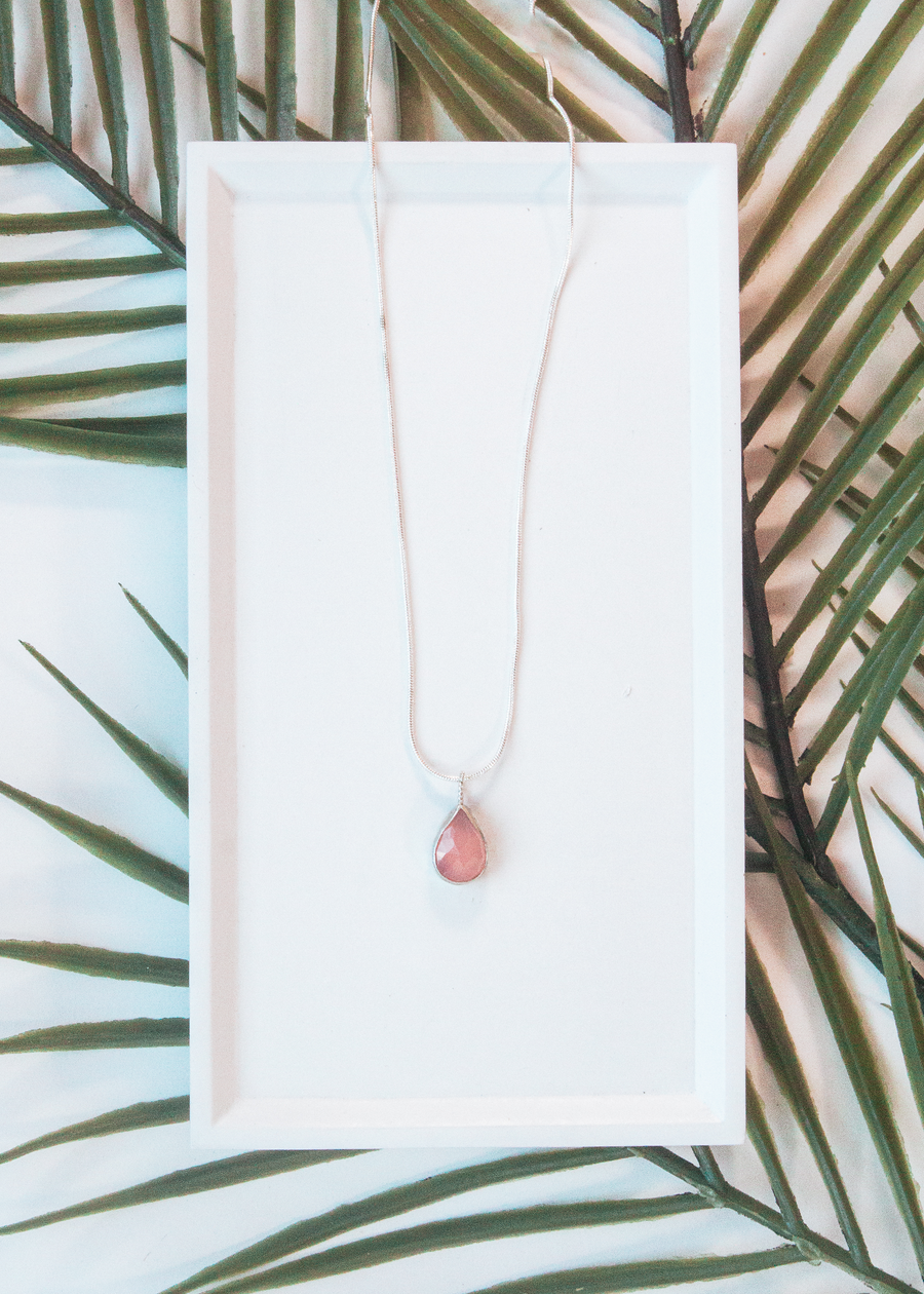Rose Quartz Pear Necklace