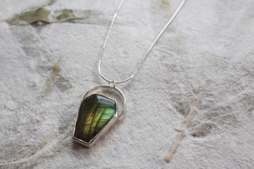 Labradorite Coffin Necklace