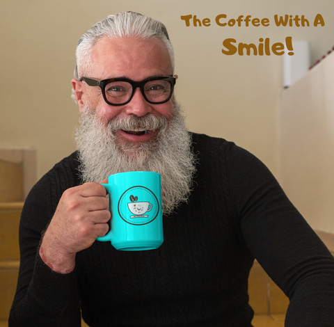 man with HAPPI Bean Coffee Mug