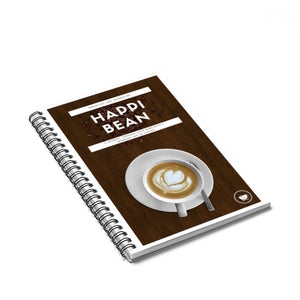 Happi Bean Brown Covered Journal Spiral Notebook - Ruled Line