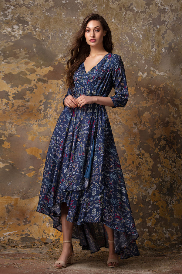 Wraparound embroidered Dress