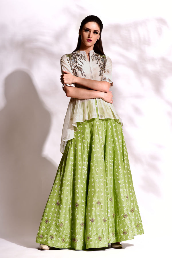 Hand loom Top with Silk Bandhani Paneled Skirt