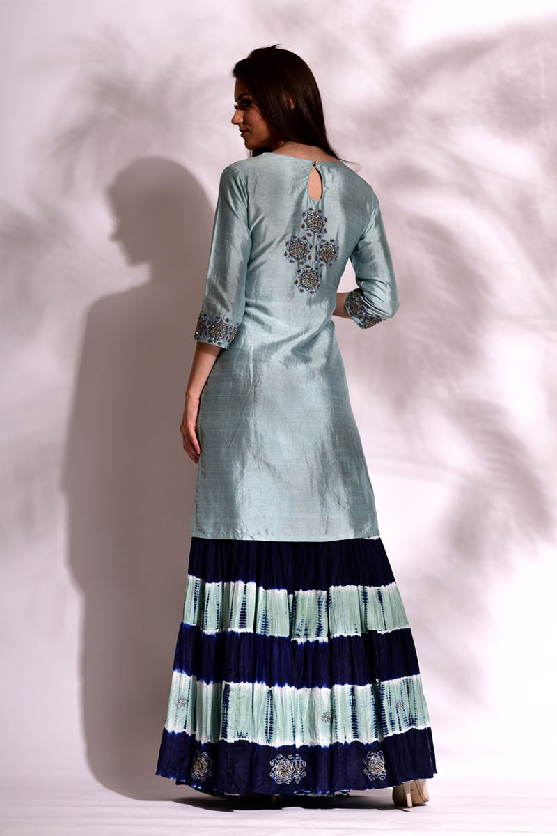 Straight Fit Tunic with Silk Leheriya Sharara