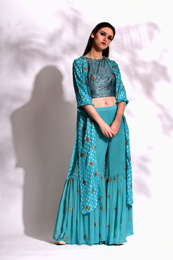 Aqua Cape, block printed crop top & Sharara Set
