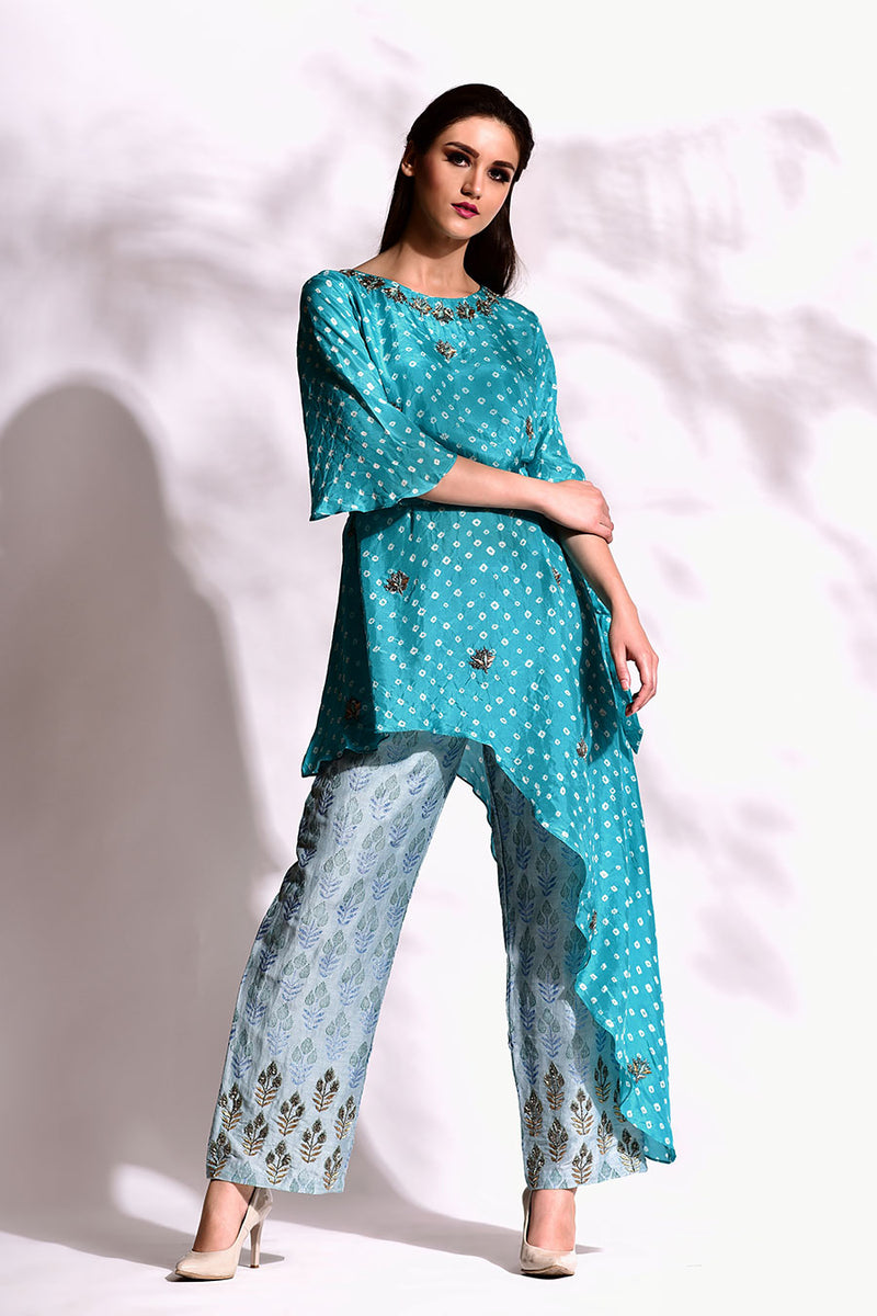 Bandhani Asymmetric Tunic & block printed pants