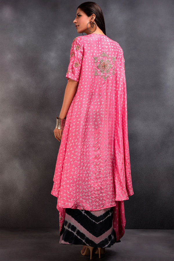 Bandhani Cape & Leheriya Front Knot Gown