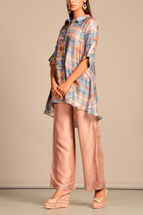 Geometric button down top with pants