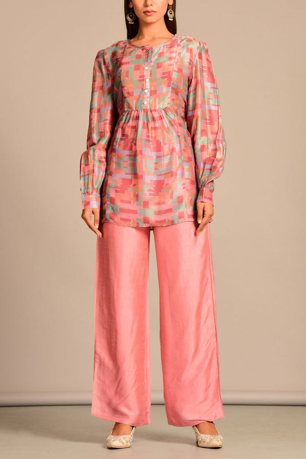 Button down Pink top with pants