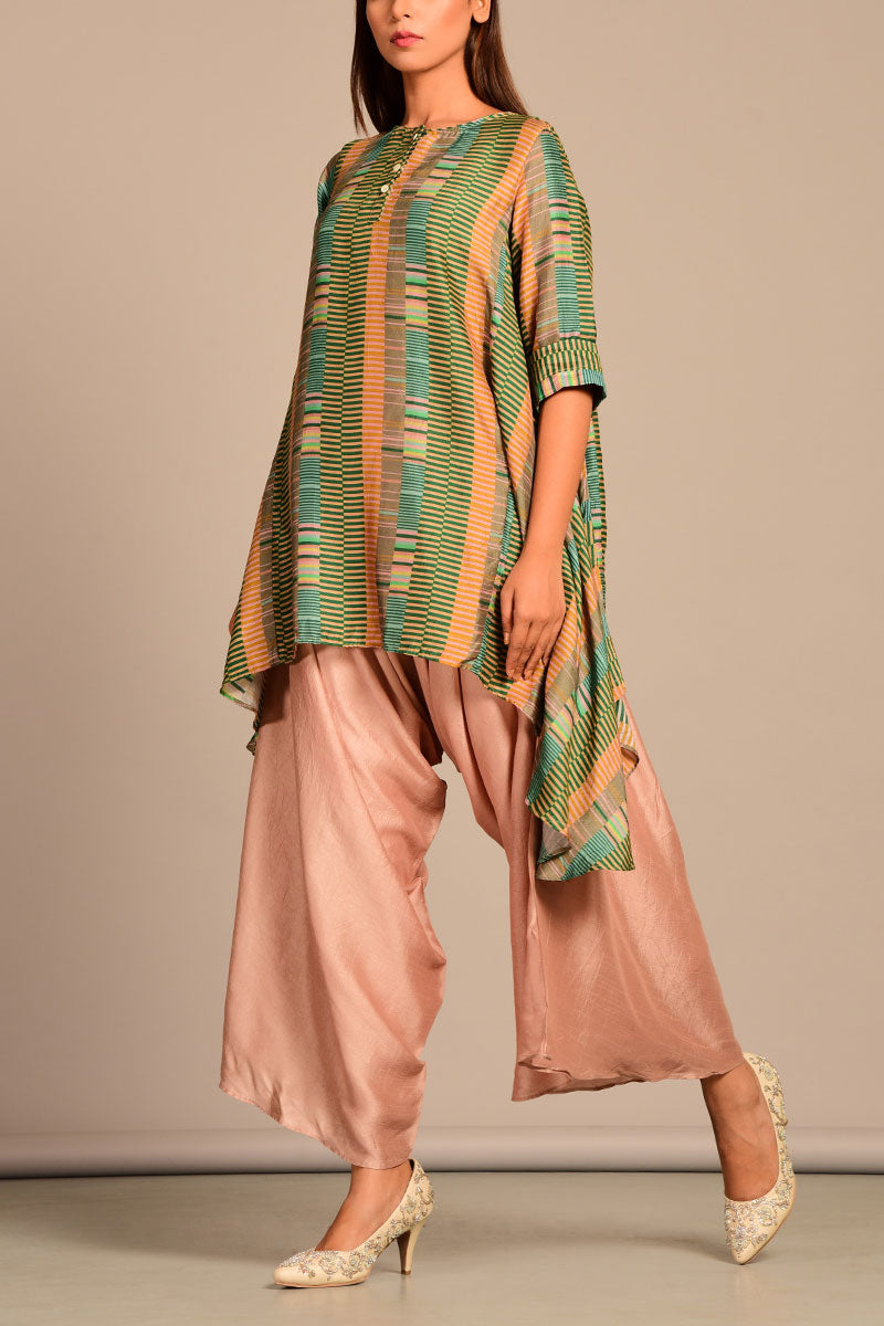 Asymmetric top with dhoti pants