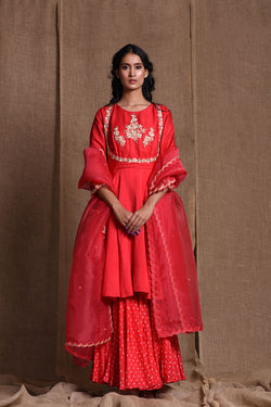 Festive bandhani red sharara set