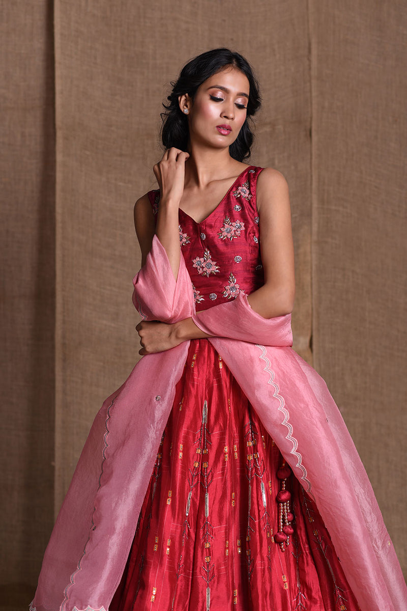 Red and baby pink blouse lehenga and dupatta