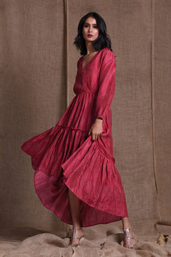 Printed high low red dress | koashee by shubhitaa