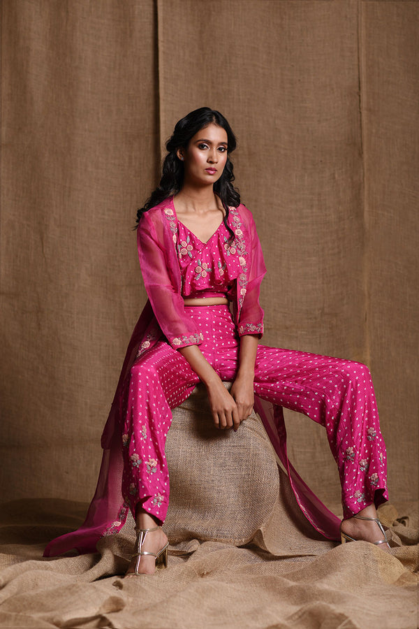 Pink Bandhani crop top pants and organza cape