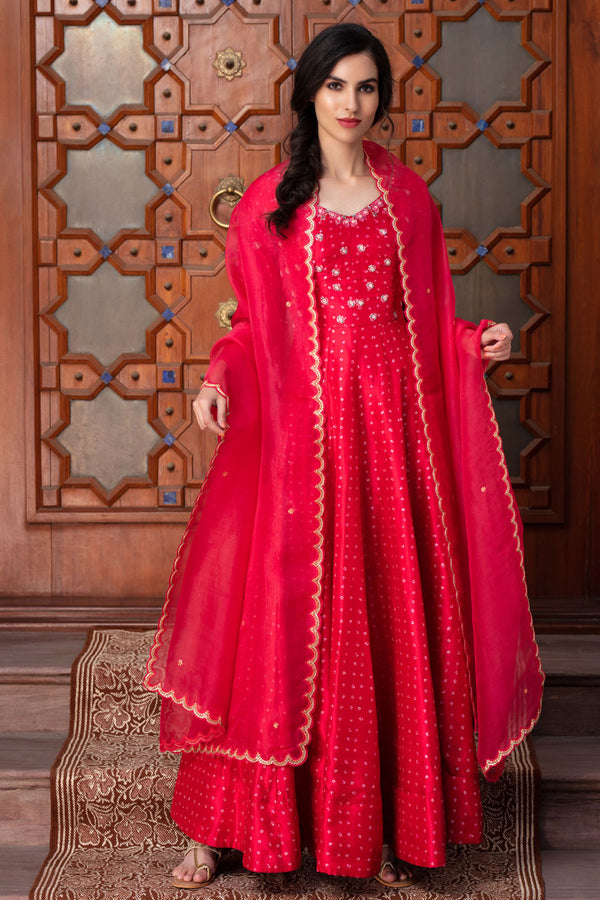 Red long kali gown