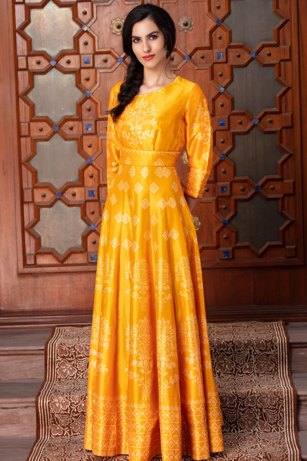 Yellow long kali dress | koashee by shubhitaa