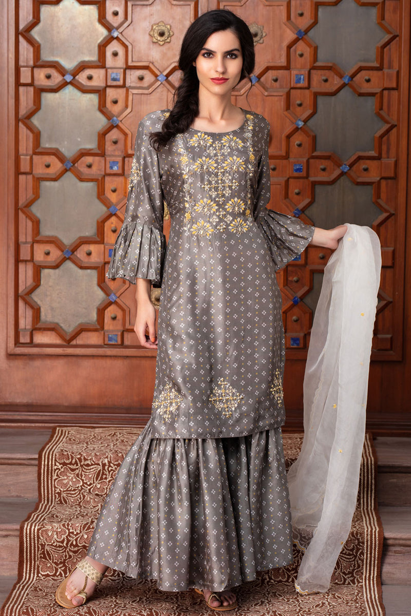 Printed embroidered sharara set