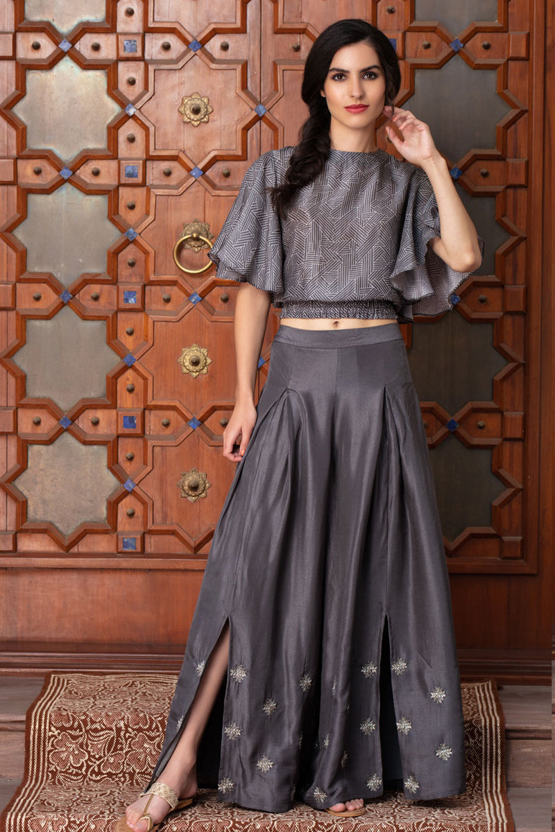 Charcoal short top flared pants | koashee by shubhitaa