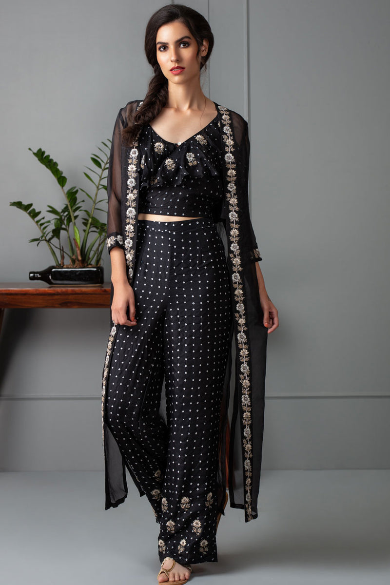 Black bandhani frill crop top pants and cape
