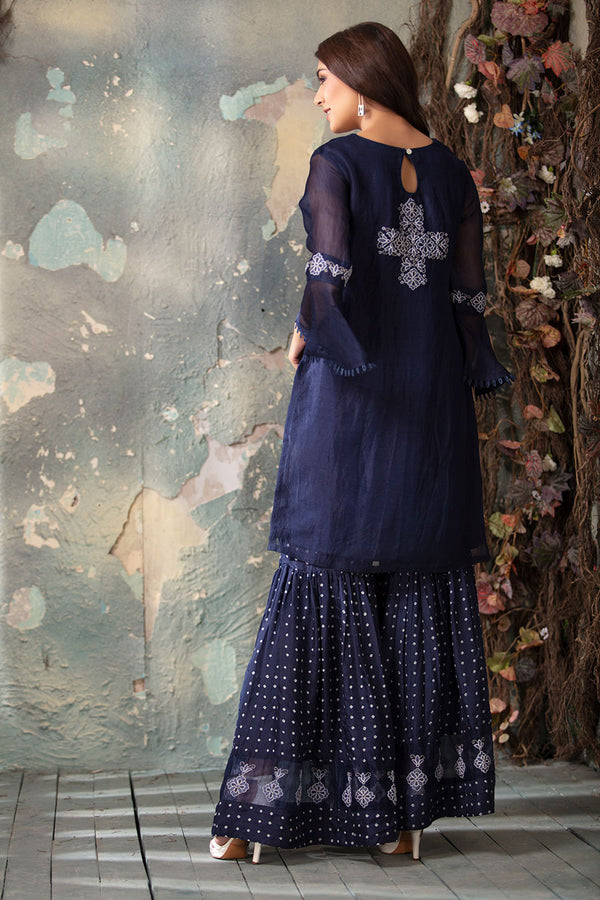 Dark Blue Organza and Sharara set