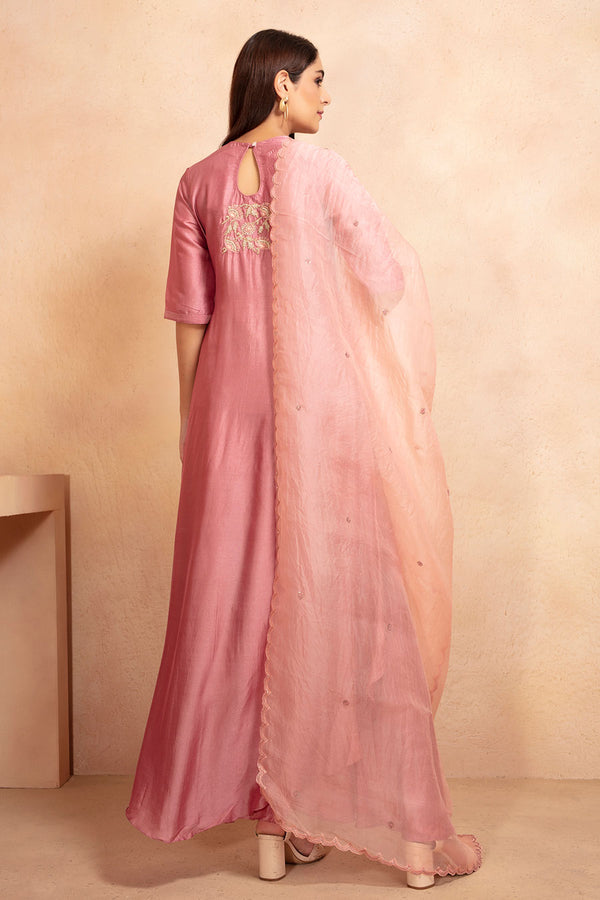 Old Rose Tunic and Skirt Set with Dupatta