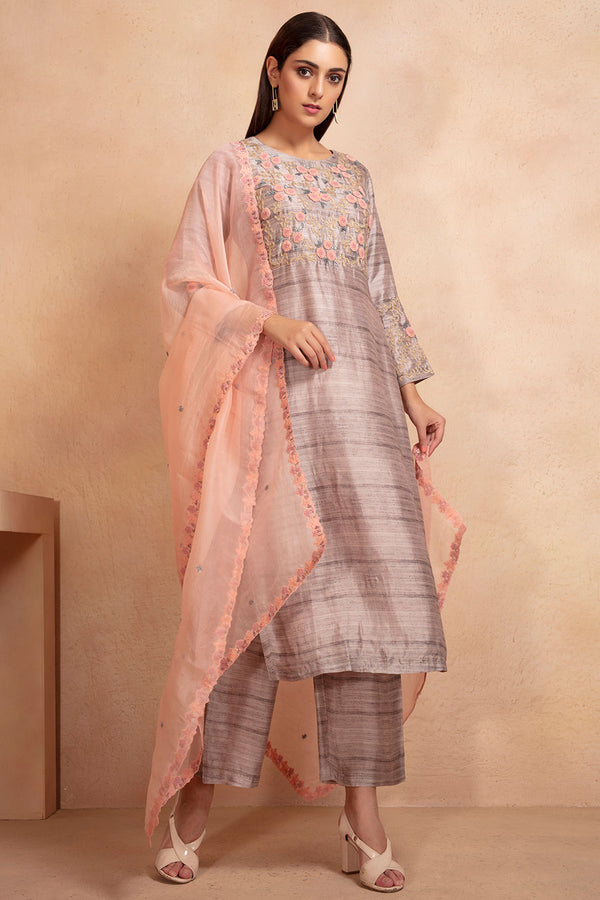 Textured tunic, pants & dupatta set