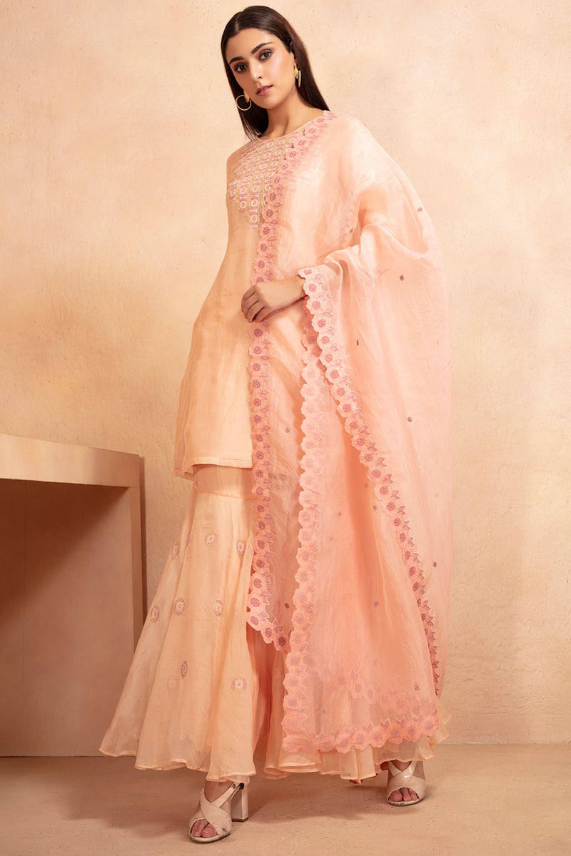 Beige and Pink Tunic and Sharara Set