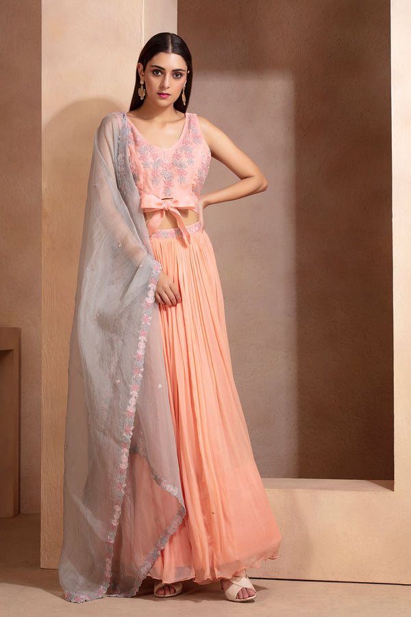 Peach Crop Top, Skirt and Dupatta Set