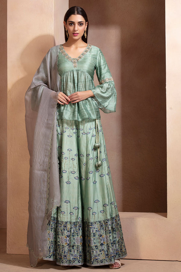 Pastel green Signature Printed Lehenga Set