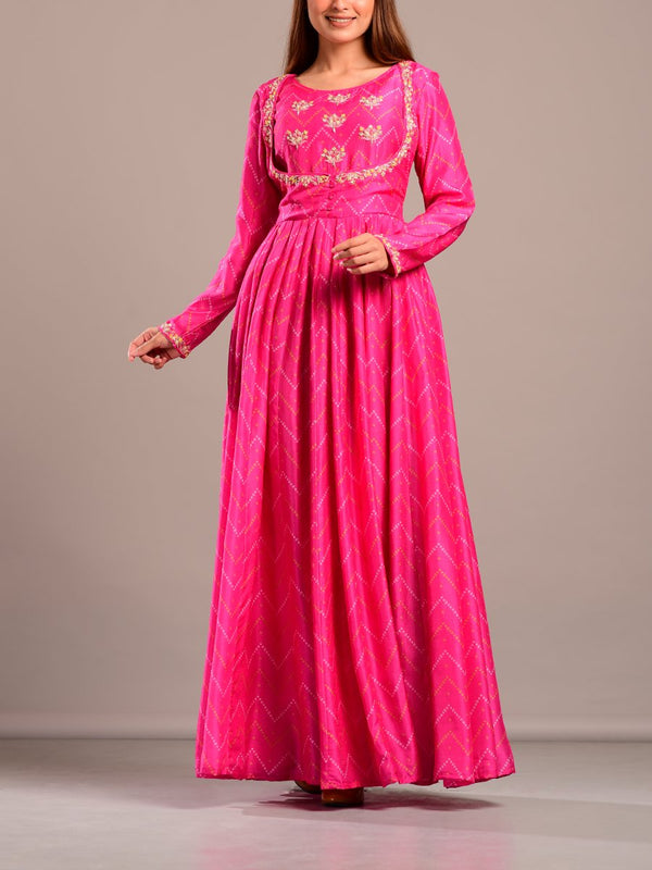 Pink Printed Long Indian Dress