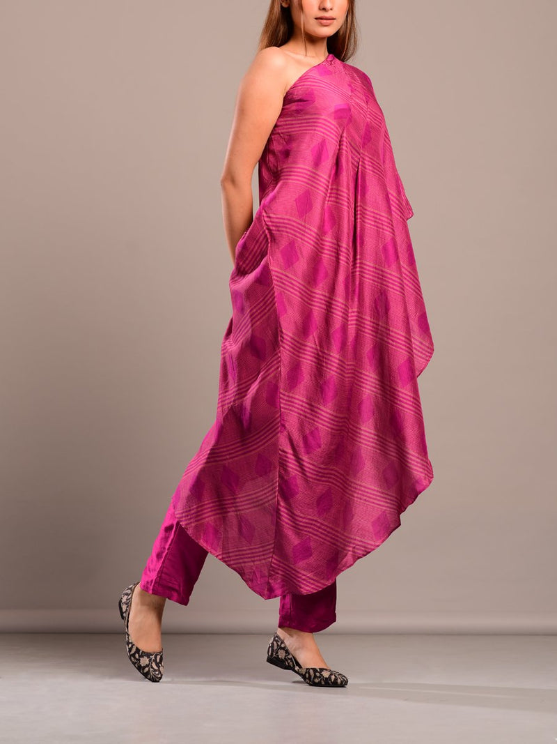 Magenta One Shoulder Printed Set