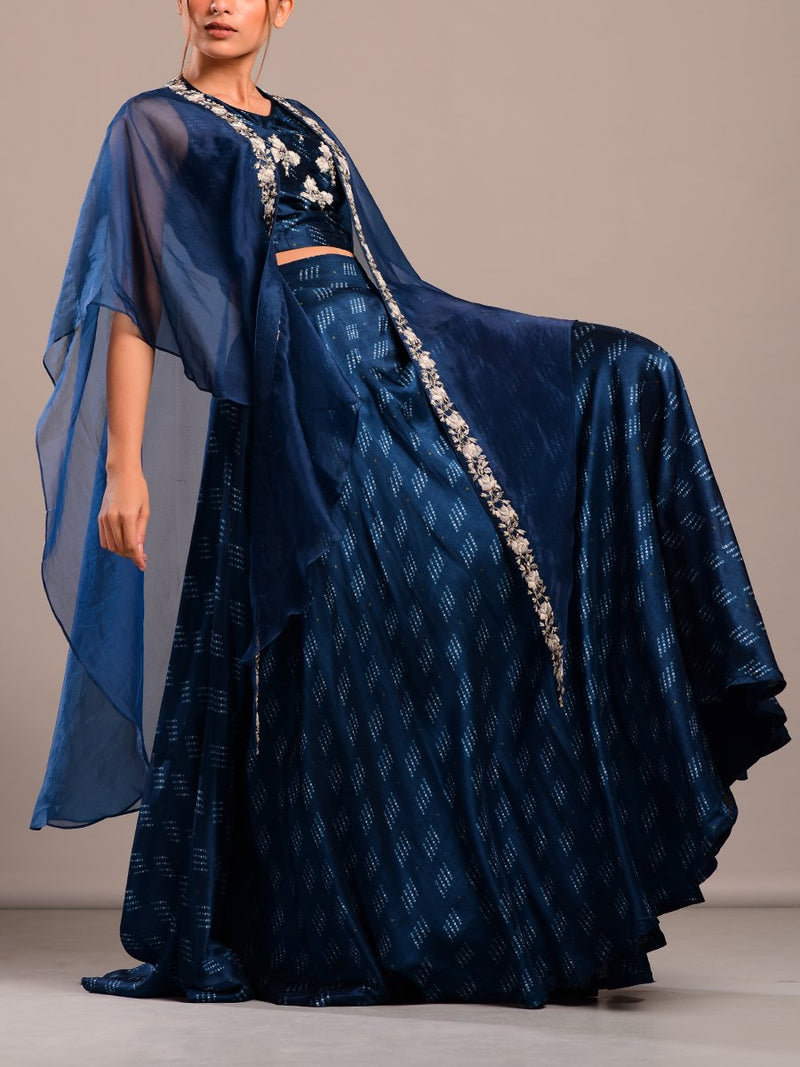 Blue Bandhani Printed Skirt Crop Top And Cape