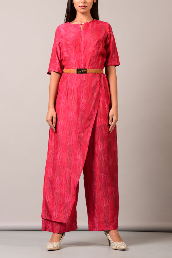 Red Overlap Jumpsuit