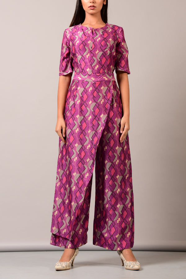 Purple  Geometric Overlap Jumpsuit