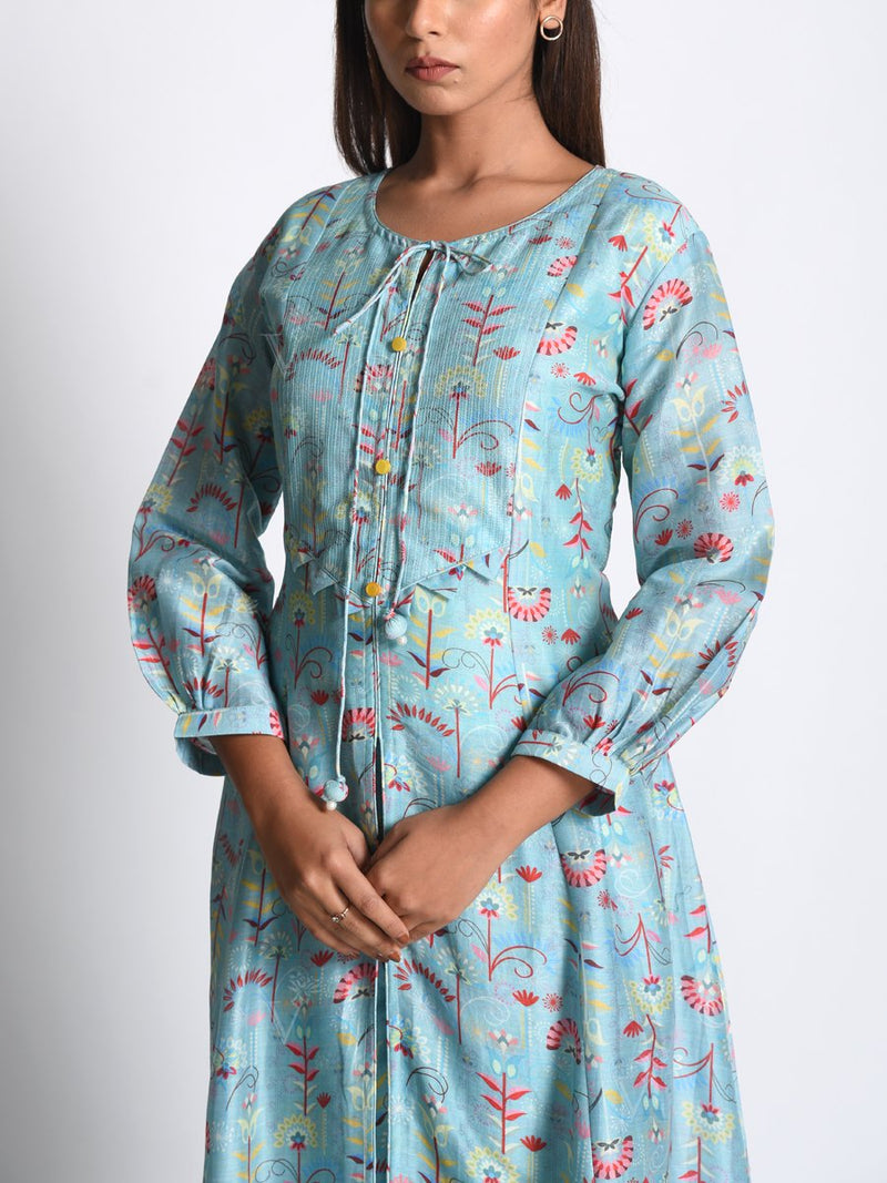 Powder Blue Chanderi Silk Printed Front Slit Kurta Set