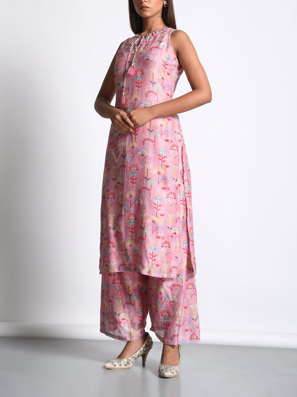 Blush Pink Chanderi Silk Printed Kurta Set