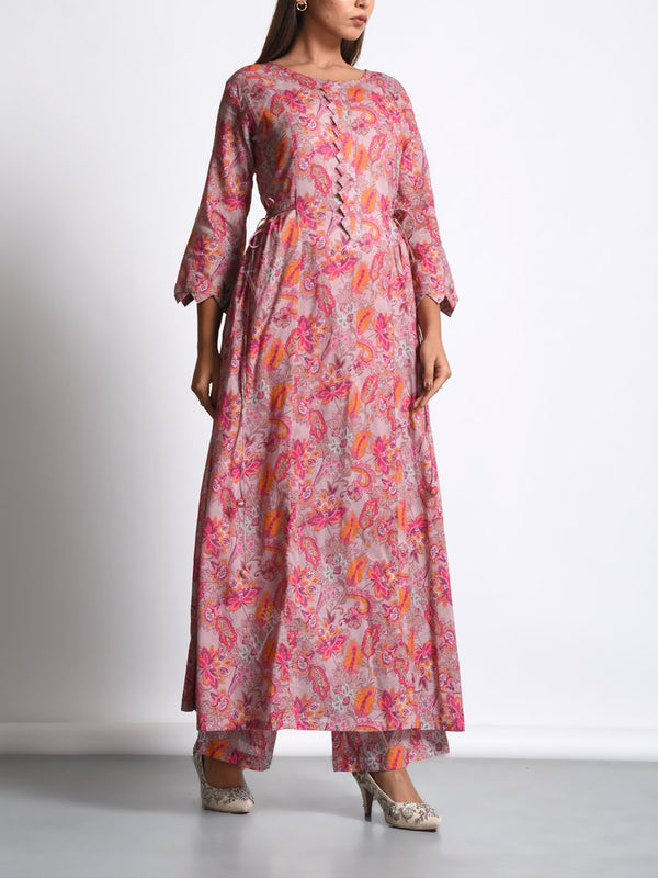 Pink Botanical Printed Kurta Set
