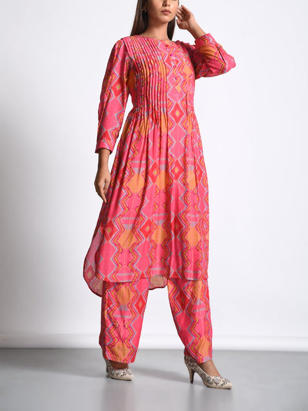 Pink Silk Printed Kurta Set