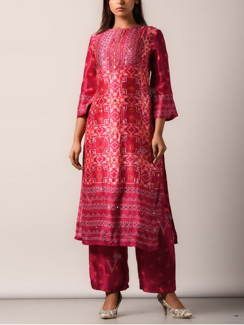 Pink Silk Highlighted Suit Set