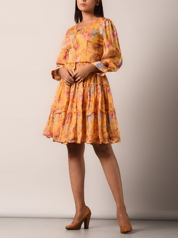 Mango Yellow Chiffon Printed A Line Dress