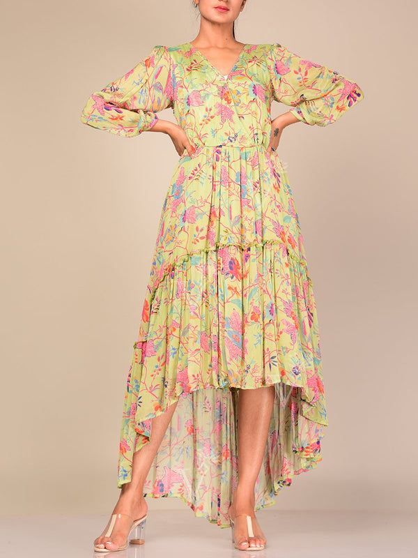 Dress, Dresses, Asymmetrical, Floral, Summer Dress, Pastel, Silk, Crepe, One Piece