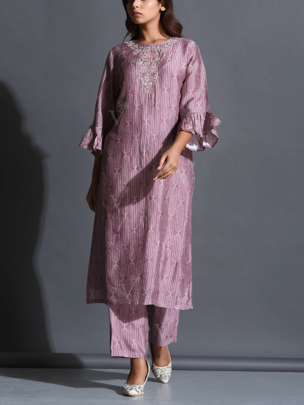 Lavander Printed Silk Suit Set