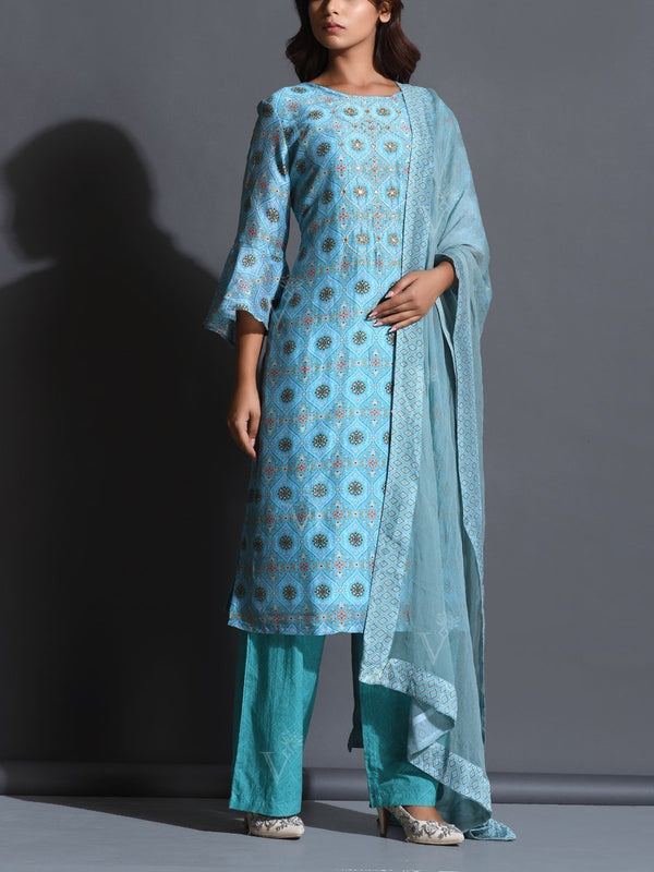 Tuquoise Blue Silk Printed Suit Set
