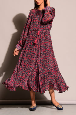 Printed Red Black Midi Dress