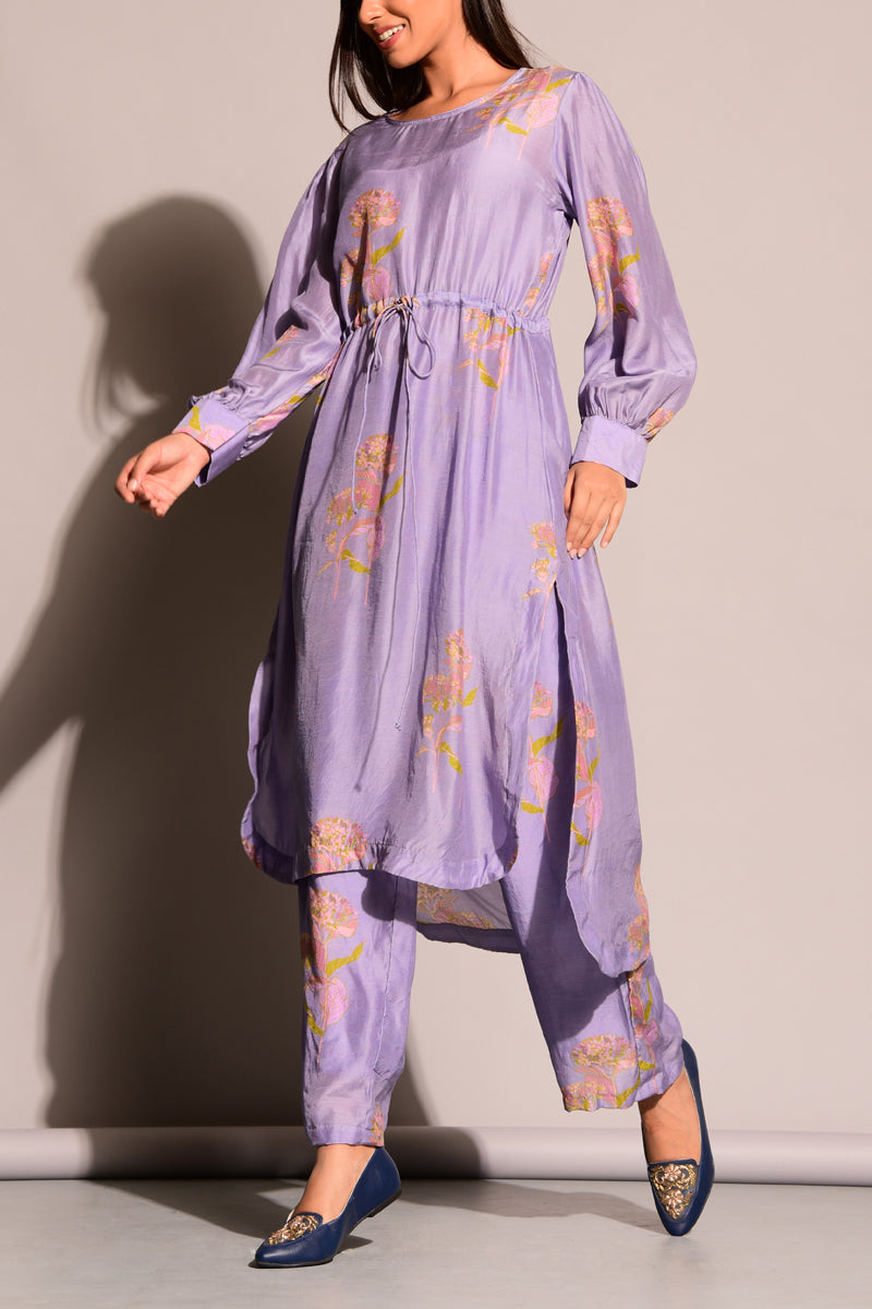 Prined Mauve Cotton Silk Co-ord set