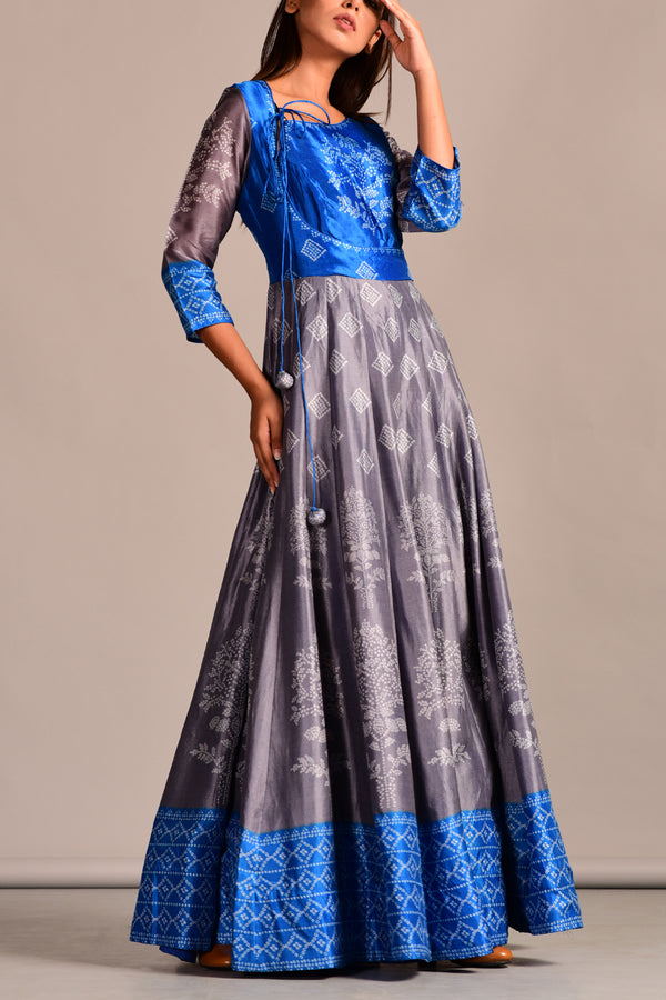 Grey Blue Bandhani Printed Long Kali Dress