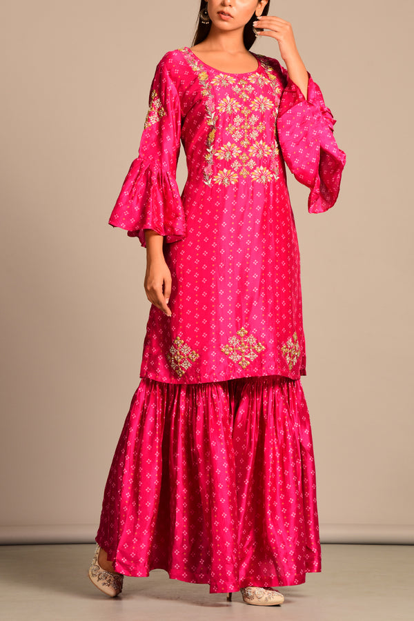 Printed Pink bandhani kurta and sharara