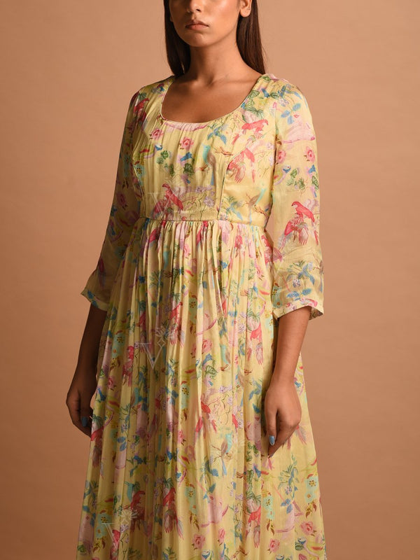 Powder Yellow Floral Printed Chiffon Dress